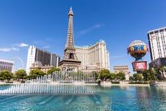 Vista do hotel de Paris Las Vegas e do casino, LAS VEGAS, EUA Imagens de Stock