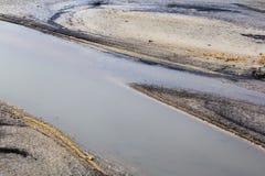 Vista do lago Barrea quase seca, lago Barrea, Abruzzo, Itália outubro Imagens de Stock