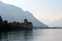 Vista do lago Genebra no alvorecer Imagens de Stock Royalty Free