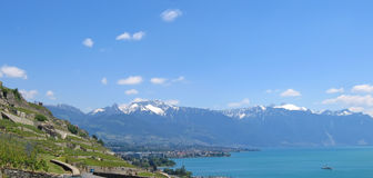 Vista do lago Leman, Switzerland, panorama imagem de stock royalty free