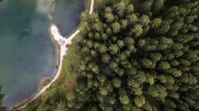 Vista do lago Pianozes ` Ampezzo da cortina D, dolomites, Itália fotografia de stock royalty free