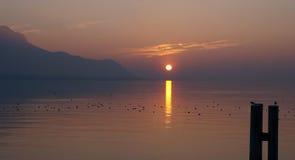 Vista do leman do lago em Montreux Imagens de Stock