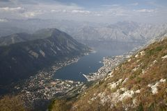 Vista do louro de Kotor em Montenegro Fotos de Stock Royalty Free