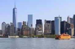 Vista do Lower Manhattan de Hudson River, NY, EUA Fotografia de Stock Royalty Free