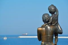 Vista do mar aberto no porto de Odessa ucrânia Fotografia de Stock