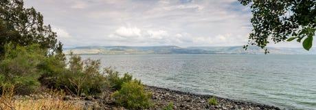 Vista do mar de Galilee, lago Tiberias, Israel fotografia de stock