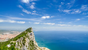 Vista do mar e a ponta da montanha sobre gibraltar Fotografia de Stock Royalty Free