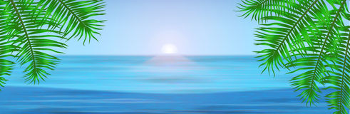 Vista do mar tropical entre as palmeiras abaixo Imagem de Stock Royalty Free