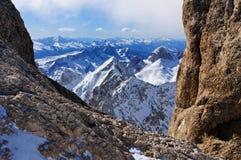 Vista do Marmolada, uma montanha em Italy fotografia de stock
