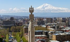 Vista do Monte Ararat de Yerevan foto de stock