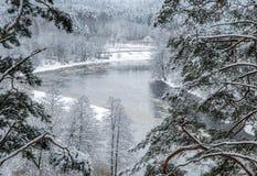 vista do monte no inverno Fotografia de Stock Royalty Free