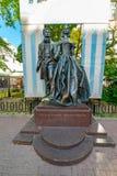 Vista do monumento a Alexander Pushkin e a Natalia Goncharova, rua do arbat, fotografia de stock