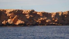 Vista do navio à costa rochosa vídeos de arquivo