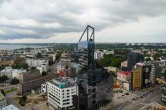 Vista do 24o assoalho à cidade moderna, Tallinn Foto de Stock