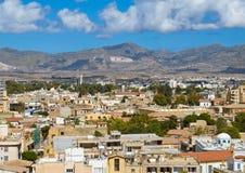 Vista do obervatório de Ledra em Nicosia sul, Chipre foto de stock