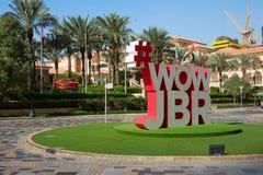 Vista do olho de Dubai e do Dubai Ferris Wheel em JBR Dubai - UAE 22 DE JANEIRO DE 2018 fotos de stock royalty free