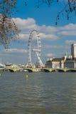 Vista do olho de Londres sobre a ponte de Lambeth através do rio Tamisa Fotografia de Stock Royalty Free