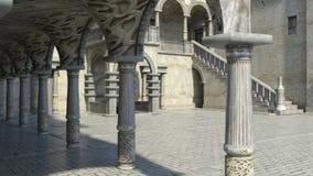 Vista do pátio na entrada ao castelo imagens de stock