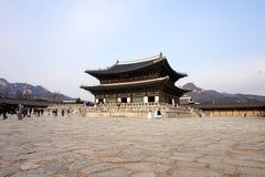 Vista do palácio de Gyeongbokgung, Coreia do Sul imagens de stock