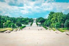 Vista do parque da música de natal 1 em Bucareste fotografia de stock royalty free