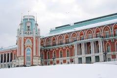Vista do parque de Tsaritsyno em Moscou O palácio grande Primeiro plano da neve Imagem de Stock