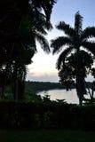 A vista do porto Antonio de Geejam, Jamaica, tomado sobre uma noite em julho Imagens de Stock Royalty Free