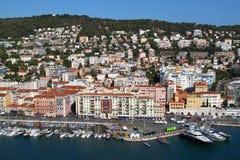 Vista do porto de agradável, cidade em França sul, riviera francês Imagens de Stock Royalty Free