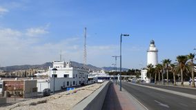 Vista do porto de Malaga-Andaluzia-Europa Foto de Stock Royalty Free