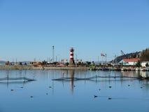Vista do porto de Puno no lago Tititaca, Peru imagem de stock