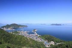 A vista do porto de Tomonoura fotografia de stock royalty free
