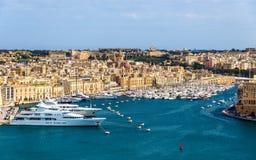 Vista do porto em Valletta fotografia de stock royalty free