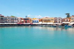 Vista do porto velho Rethymno, ilha da Creta, Grécia Imagens de Stock Royalty Free