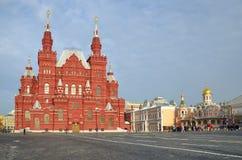 A vista do quadrado vermelho e do museu histórico, Moscou, Rússia Imagem de Stock