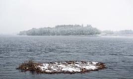 Vista do rio de Dnieper durante um dia de inverno frio e nevado fotografia de stock