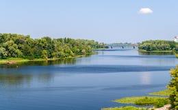 Vista do rio de Dnieper em Kiev Fotografia de Stock