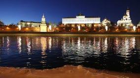 Vista do rio de Moskva e do Kremlin na noite, Moscou, Rússia--a vista a mais popular de Moscou video estoque