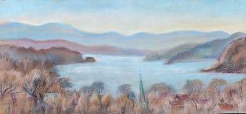 Vista do rio Hudson da ponte Fotos de Stock Royalty Free
