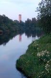 Vista do rio Olonets na república de Carélia, Rússia Fotos de Stock