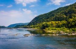 Vista do Rio Potomac, da balsa do harpista, West Virginia Foto de Stock Royalty Free