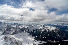 Vista do Sass Pordoi na parte superior de Val di Fassa Foto de Stock