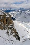 Vista do Sass Pordoi na parte superior de Val di Fassa Fotografia de Stock Royalty Free