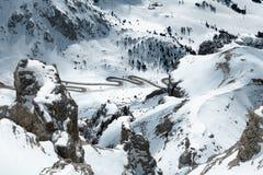 Vista do Sass Pordoi na parte superior de Val di Fassa Imagem de Stock Royalty Free
