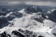 Vista do Sass Pordoi na parte superior de Val di Fassa Foto de Stock Royalty Free