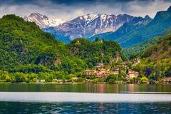 Vista do sity Arbostora, lago Lugano Foto de Stock