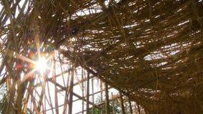 Vista do sol através de um cobrir com sapêtelhado do berçário, Myanmar filme