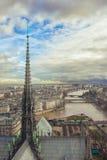 Vista do telhado de Notre Dame no pináculo da torre Foto de Stock