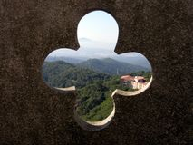 Vista do templo de Tibidabo imagens de stock royalty free
