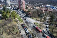 Vista do terraço à municipalidade do rakovica imagens de stock
