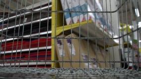 Vista do trole vazio da compra no supermercado video estoque