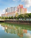Vista dos condomínios e do HDB elegantes em Singapura fotografia de stock